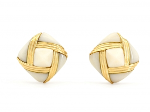 White Coral Earrings in 18K Gold
