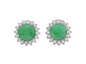 Jadeite and Diamond Earrings in Platinum