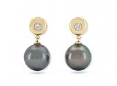 Tahitian Pearl and Diamond Earrings in 18K Gold