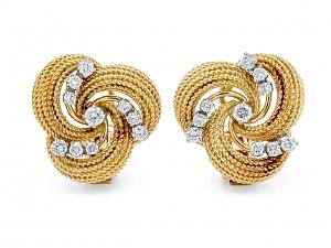 Mid-Century Swirl Diamond Earrings in 18K Gold