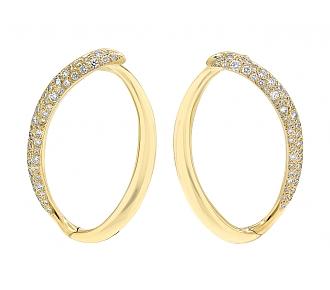 Diamond Loop Earrings in 18K Gold, by Beladora