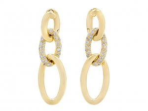 Diamond Hoop Line in 18K Gold, by Beladora