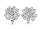 Diamond Clover Earrings in Platinum