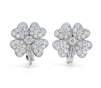 Diamond Clover Earrings in Platinum