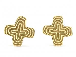 Christopher Walling 'X' Earrings in 18K Gold