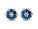 Sapphire and Diamond Floral Cluster Earrings in Platinum