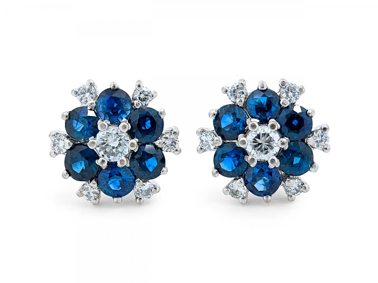 Video of Sapphire and Diamond Floral Cluster Earrings in Platinum