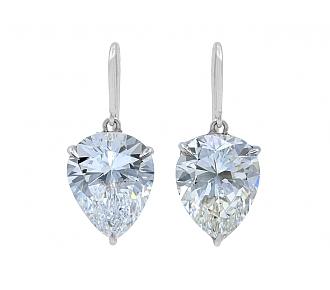 Beladora 'Bespoke' Pear-shape Diamond Drop Earrings, 6.52 carats total, in Platinum