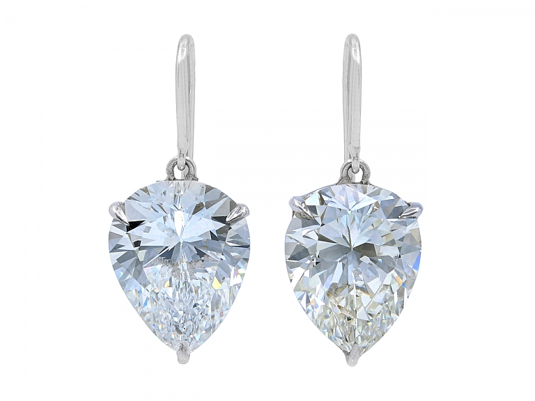 Video of Beladora 'Bespoke' Pear-shape Diamond Drop Earrings, 6.52 carats total, in Platinum