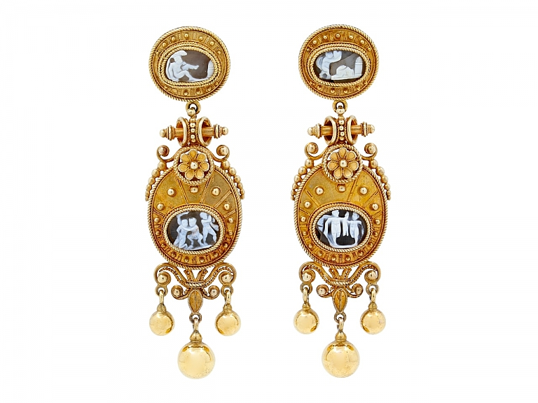 Video of Victorian Etruscan Revival Cameo Earrings in 18K Gold