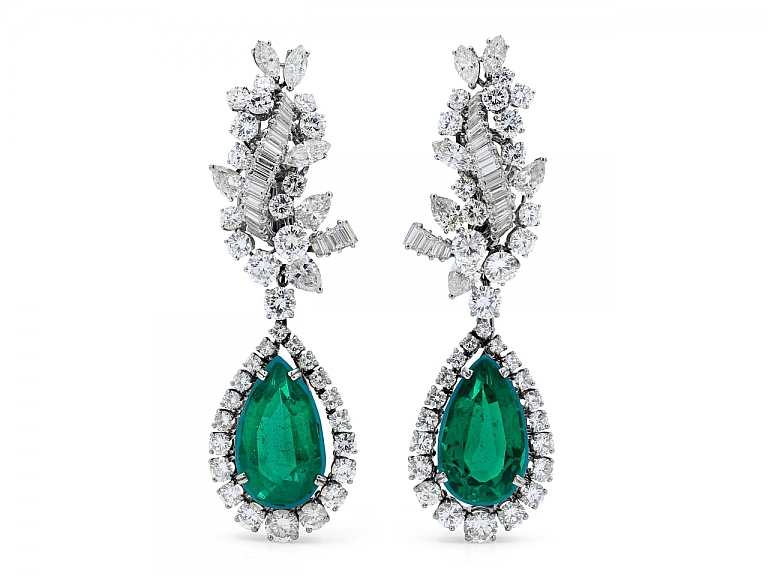 Video of Boucheron Diamond Earrings with Detachable Diamond and Simulated Emerald Earring Drops in Platinum