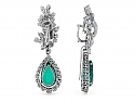 Boucheron Diamond Earrings with Detachable Diamond and Simulated Emerald Earring Drops in Platinum