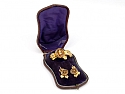 Antique Victorian Sapphire and Seed Pearl Earrings and Brooch in 14K Gold