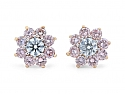 Pink and White Diamond Stud Earrings in 18K Gold