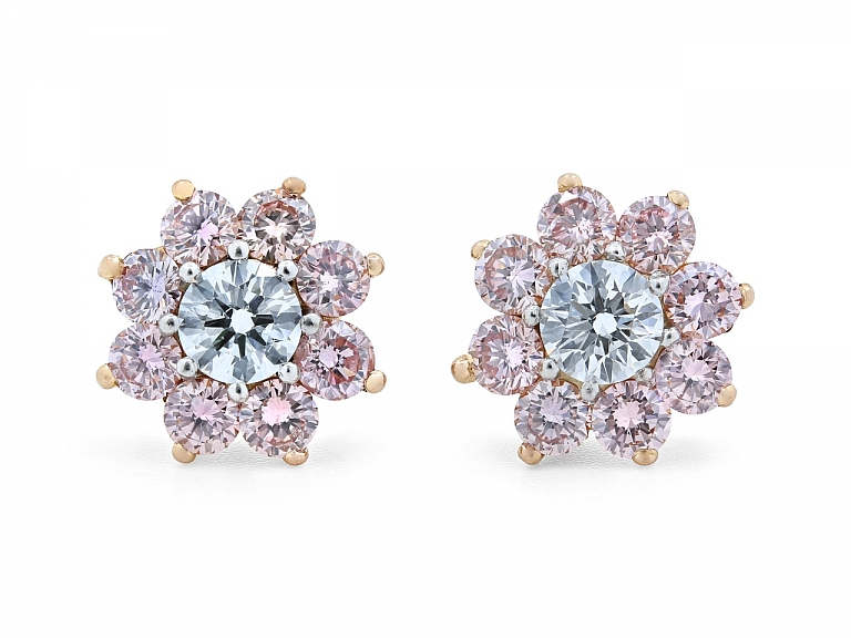 Video of Pink and White Diamond Stud Earrings in 18K Gold