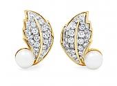 Hammerman Brothers Diamond and Pearl Leaf Earrings in 18K Gold
