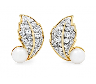 Hammerman Brothers Diamond and Pearl Leaf Earrings in 18K Gold