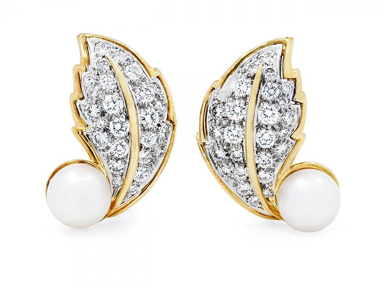 Video of Hammerman Brothers Diamond and Pearl Leaf Earrings in 18K Gold