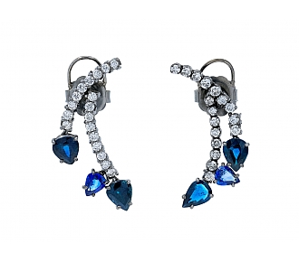 Beladora Bespoke Sapphire and Diamond Earrings in Blackened 18k Gold