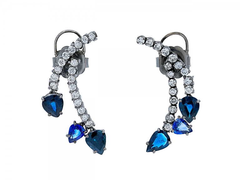 Video of Beladora Bespoke Sapphire and Diamond Earrings in Blackened 18k Gold