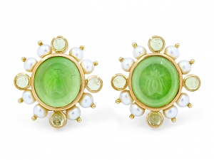 Elizabeth Locke Venetian Glass Intaglio Earrings with Pearls in 18K Gold