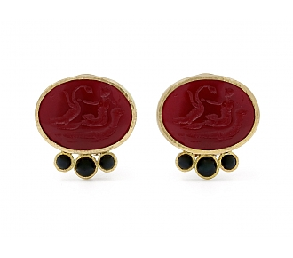 Elizabeth Locke Venetian Glass Intaglio and Onyx Earrings in 18K Gold