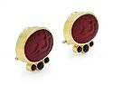 Elizabeth Locke Venetian Glass Intaglio and Onyx Earrings in 18K Gold