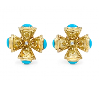 Turquoise and Diamond Maltese Cross Earrings in 18K Gold