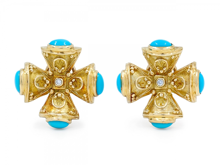 Video of Turquoise and Diamond Maltese Cross Earrings in 18K Gold