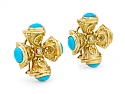 Turquoise and Diamond Maltese Cross Earrings in 18K Gold