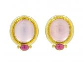 Elizabeth Locke Moonstone and Pink Tourmaline Earrings in 19K