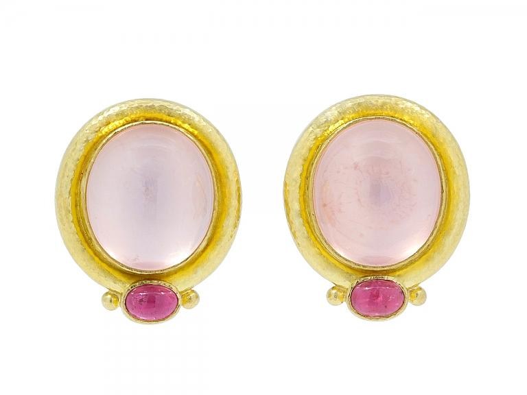 Video of Elizabeth Locke Moonstone and Pink Tourmaline Earrings in 19K