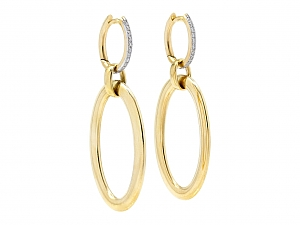 Gold Hoop Earrings, with Diamond Tops, in 18K Gold, by Beladora