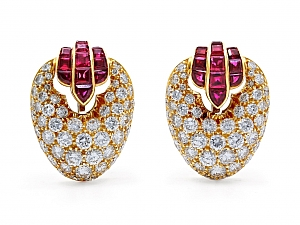Diamond and Ruby Ear Clips in 18K Gold