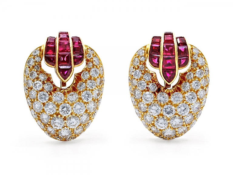 Video of Diamond and Ruby Ear Clips in 18K Gold