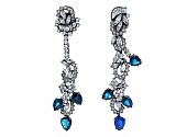 Beladora Bespoke Sapphire and Diamond Drop Earrings in Blackened 18K Gold