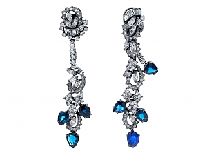 Beladora Bespoke Sapphire and Diamond Drop Earrings in Blackened 18K Gold