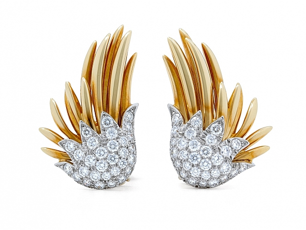 Tiffany & Co. Schlumberger Diamond Earrings in Platinum and 18K Gold