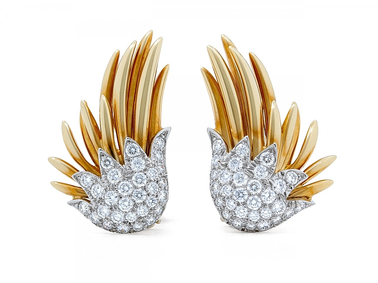 Video of Tiffany & Co. Schlumberger Diamond Earrings in Platinum and 18K Gold