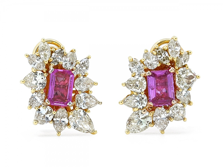 Video of Pink Sapphire and Diamond Earclips in 18K Gold