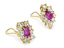 Pink Sapphire and Diamond Earclips in 18K Gold