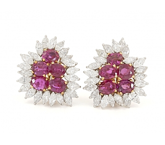 Ruby and Diamond Earrings in 18K Gold