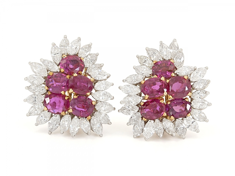 Video of Ruby and Diamond Earrings in 18K Gold