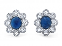 Sapphire and Rose-cut Diamond Earrings in 18K White Gold