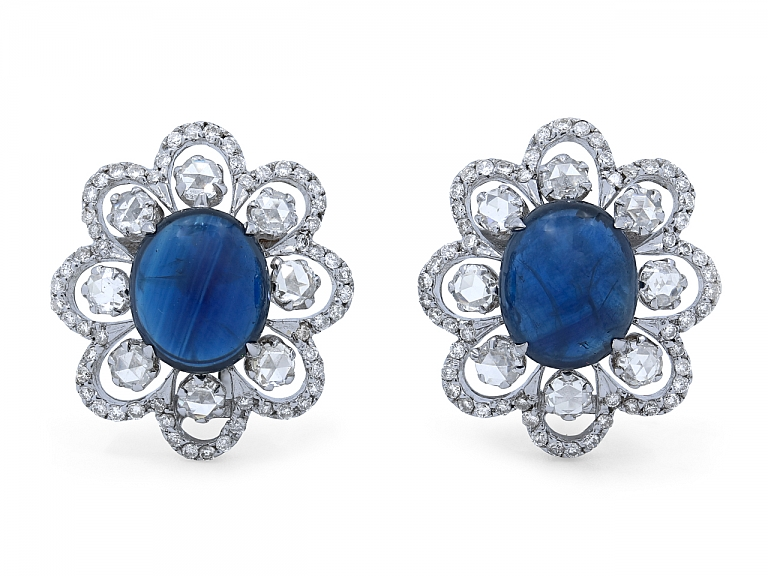 Video of Sapphire and Rose-cut Diamond Earrings in 18K White Gold
