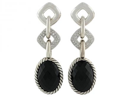 David Yurman Black Onyx and Diamond Earrings in Silver