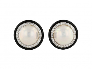Trio Mabe Pearl and Diamond Earrings in 18K