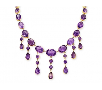 Antique Victorian Amethyst Necklace in 15K