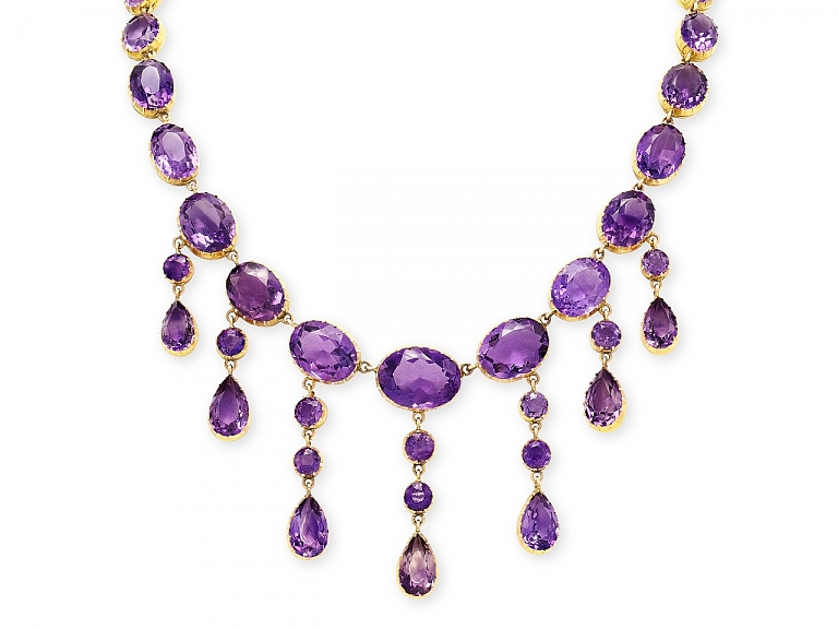 Video of Antique Victorian Amethyst Necklace in 15K