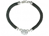Kieselstein-Cord Sun Medallion Necklace in Leather and Sterling Silver